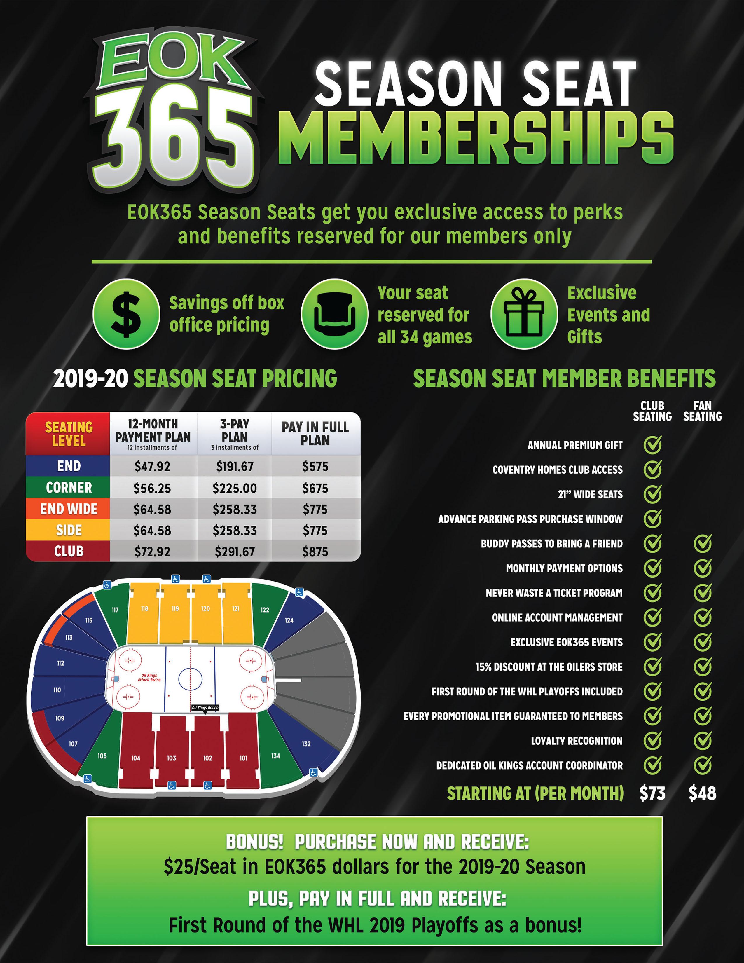 EOK365 Season Seat Membership Pricing