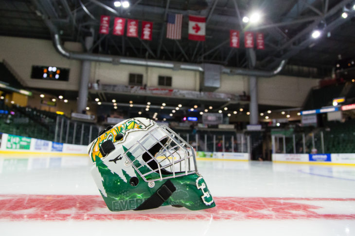 Everett Silvertips versus the Prince Albert Raiders on Wednesday, Nov. 15, 2017 at Xfinity Arena in Everett, Washington. (Chris Mast via AP Images)