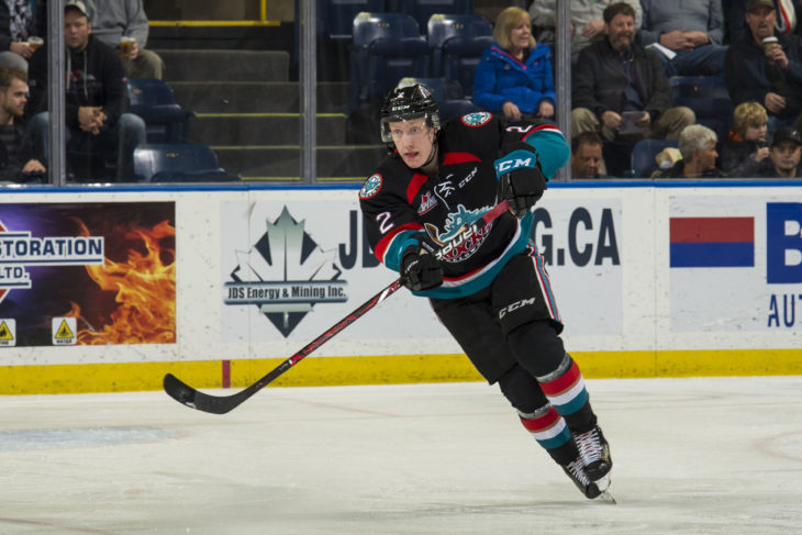 KELOWNA, CANADA - DECEMBER 5: Lassi Thomson #2 of the Kelowna Rockets passes the puck against the Tri-City Americans on December 5, 2018 at Prospera Place in Kelowna, British Columbia, Canada. (Photo by Marissa Baecker/Shoot the Breeze)