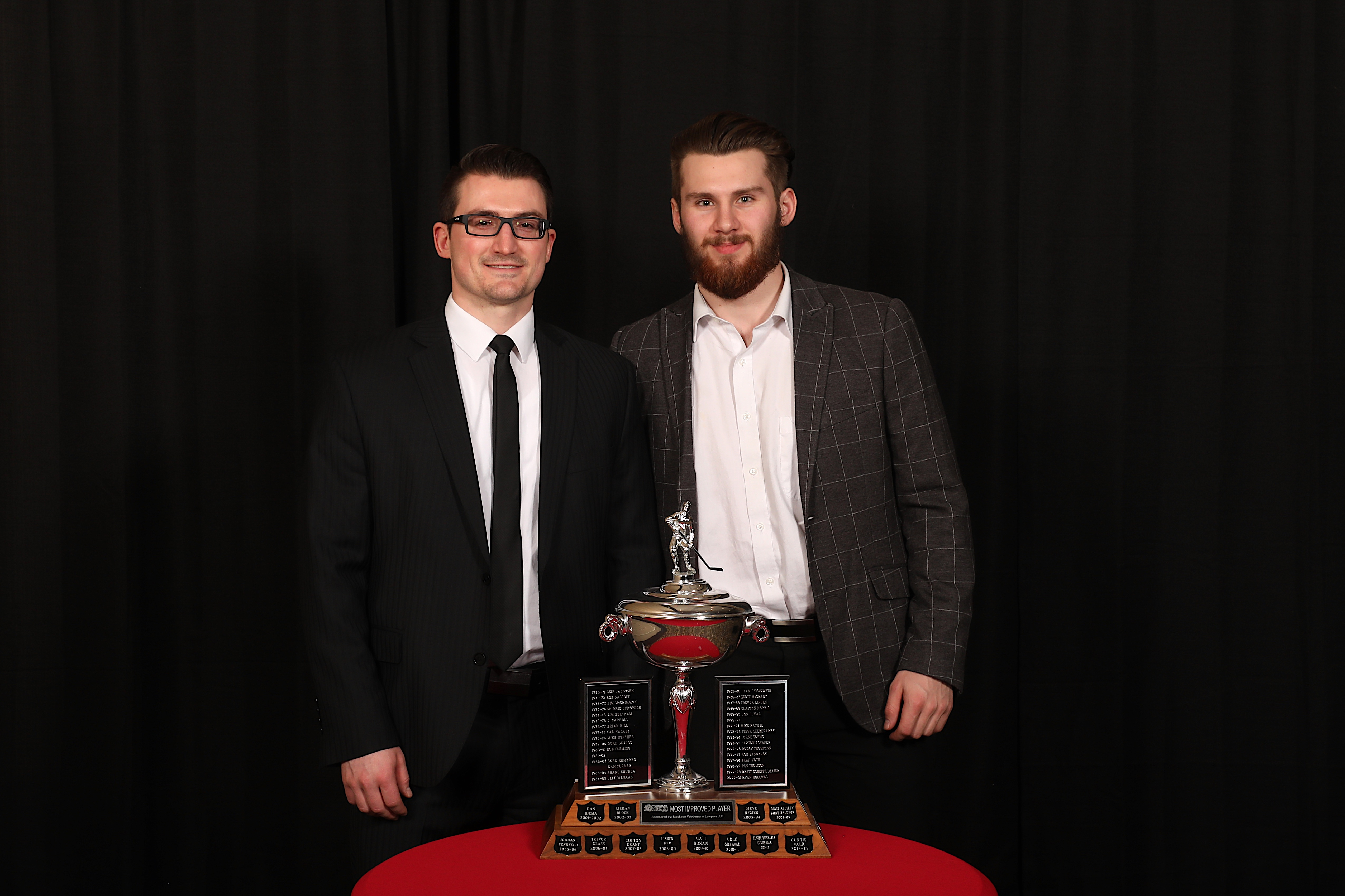 AC Joe Frazer presented the MacLean Wiedemann Lawyers LLP Most Improved Player to Ryan Jevne