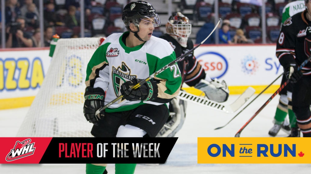 Raiders' Fonstad Named WHL On The Run Player Of The Week
