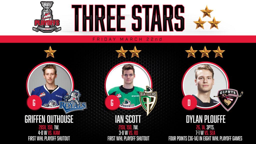 #WHLPlayoffs Three Stars: March 22, 2019