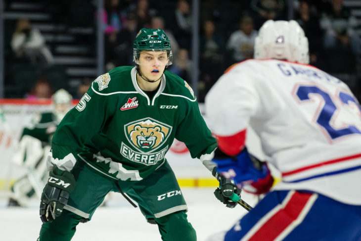 Artyom Minulin on defence against the Spokane Chiefs.