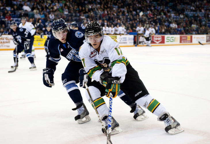 The Saskatoon Blades and Prince Albert Raiders in action in 2010. Photo: Steve Hiscock/Saskatoon Blades