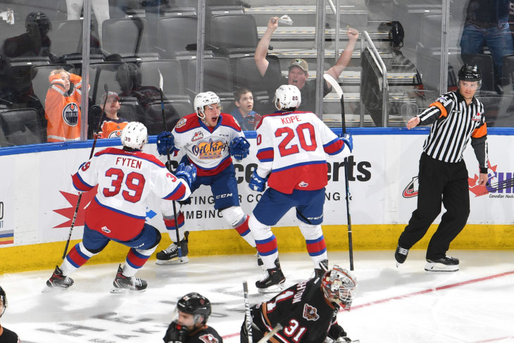 Edmonton Oil Kings forward Jake Neighbours celebrates his overtime goal in Game 1 against the Calgary Hitmen. Photo: Andy Devlin/Edmonton Oil Kings