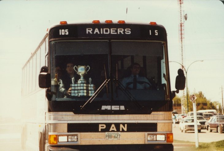 The Memorial Cup arrives in Prince Albert. Photo: WHL Archives.
