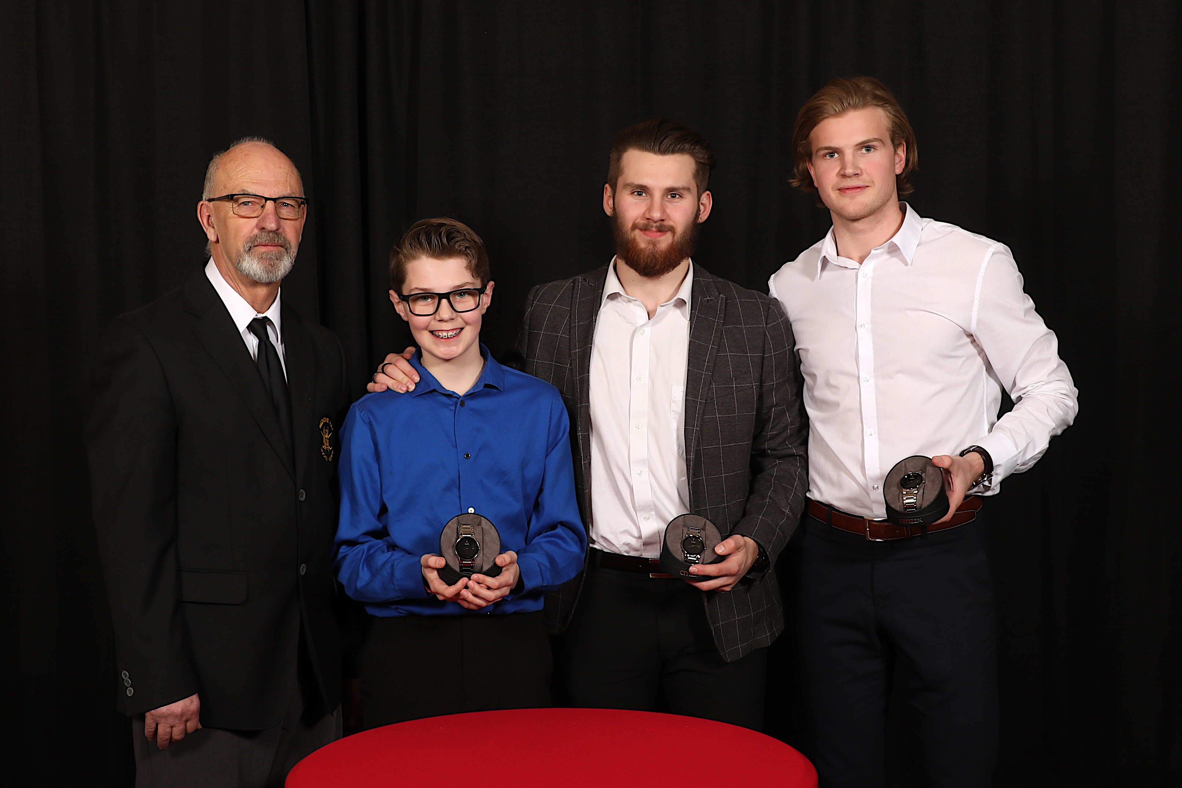 George Hamel of the Medicine Hat Hockey Hounds presented Ryan Jevne, Linus Nassen & Dylan MacPherson with watches (Landon MacPherson accepted on Dylan's behalf)