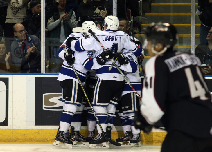 The Victoria Royals celebrate a goal in Game Seven of the first round in the 2018 WHL Playoffs. Photo: Jonathon Howe.