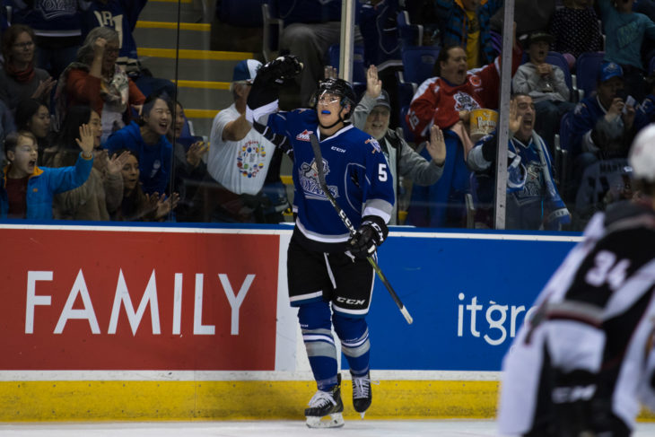 Mitchell Prowse celebrates a goal against the Vancouver Giants. Photo: Jay Wallace
