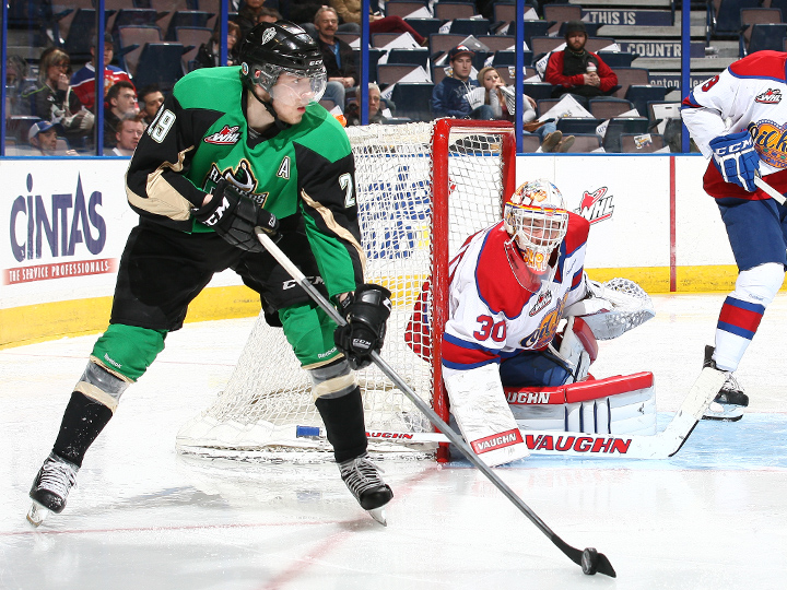 Leon Draisaitl controls the puck for the Prince Albert Raiders while Tristan Jarry protects the net for the Edmonton Oil Kings. Photo: Marko Ditkun/Edmonton Oil Kings