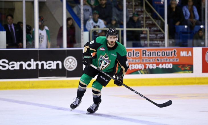 Defenceman Max Martin of the Prince Albert Raiders. Photo: Lucas Chudleigh/Apollo Multimedia